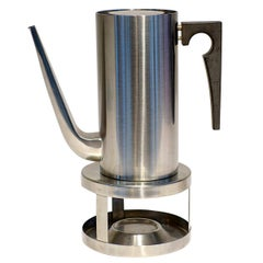 Midcentury Cylinda Coffee Pot and Stove by Arne Jacobsen for Stelton