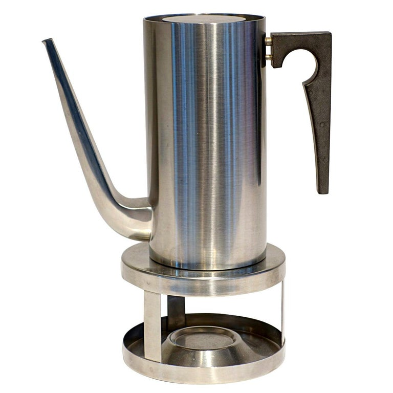 Midcentury Cylinda Coffee Pot and Stove by Arne Jacobsen for Stelton For Sale