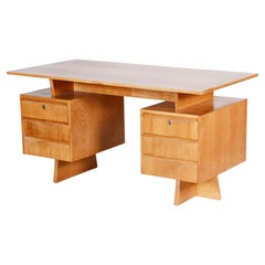 Midcentury Czech Writing Desk, Fully Restored and Made in the 1950s Out of Ash