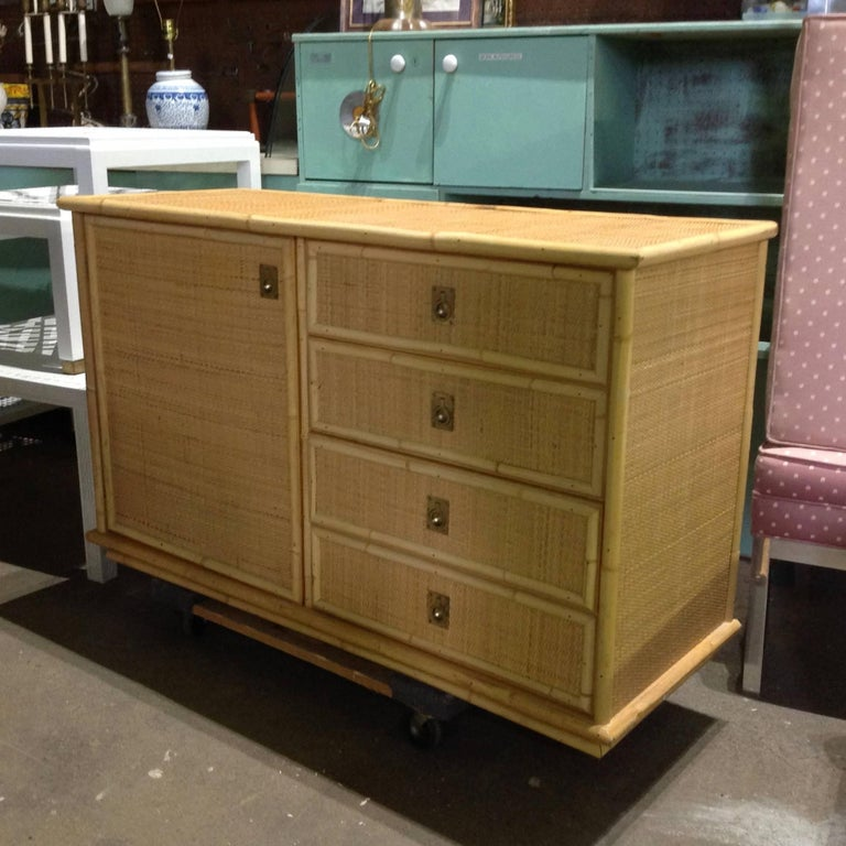 Midcentury Dal Vera Rattan Side Cabinet In Good Condition In West Palm Beach, FL
