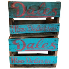 """Midcentury """"Dales Home Deliveries"""" Brand Painted Wooden Soda Crate Boxes"""