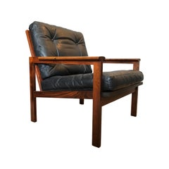 Midcentury Danish Armchair by Illum Wikkelso, Rosewood and Leather
