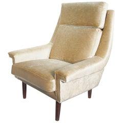 Midcentury Danish Beige Velvet Armchair