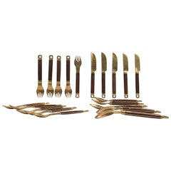 Midcentury Danish Brass and Teak Flatware Cutlery Set from Carl Cohr, Set of 20