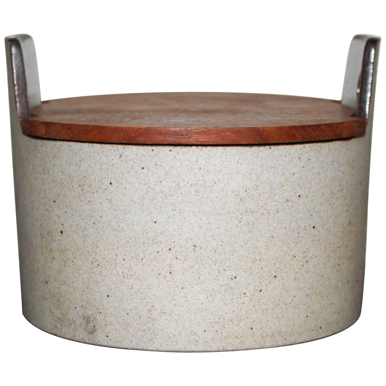 Midcentury Danish Ceramic Bowl with Teak Lid by Knabstrup Atelier