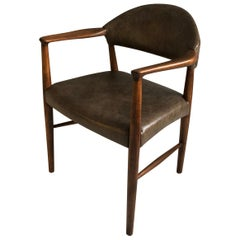 Midcentury Danish Chair by Kurt Olsen, New Leather Upholstery
