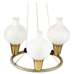 Midcentury Danish Chandelier with Opaline Glass Shades