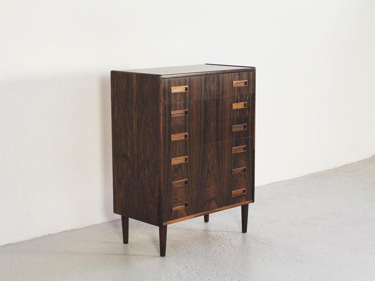 Veneer Midcentury Danish Chest of 6 Drawers in Rosewood by Westergaard For Sale