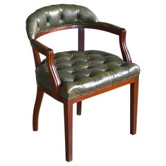 Midcentury Danish Chesterfield Style Court Chair in Patinated Green Leather