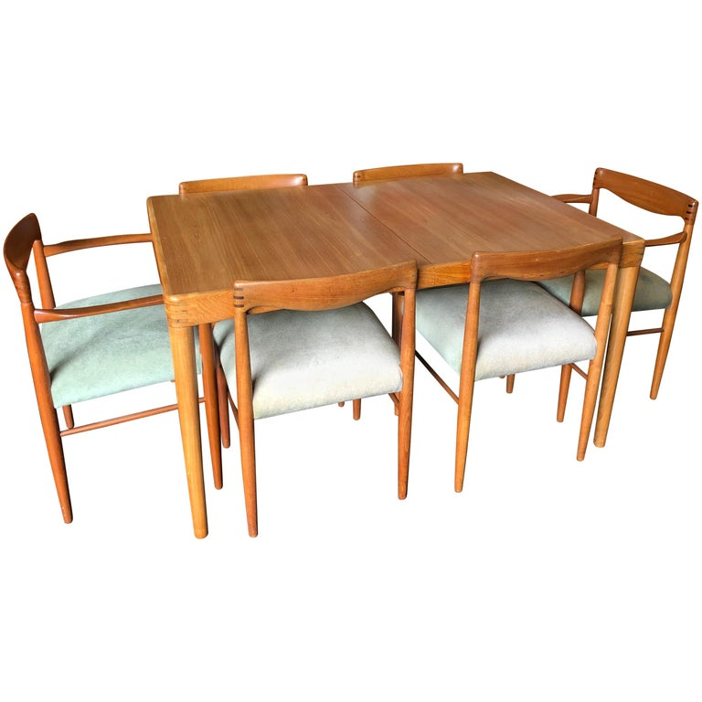Midcentury Danish Dining Set By HW Klein, Table And 6
