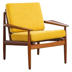 Midcentury Danish Easy Chair by Arne Vodder for Glostrup in Teak and Yellow