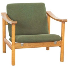 Midcentury Danish Easy Chair in Oak and Fabric by Hans Wegner for GETAMA