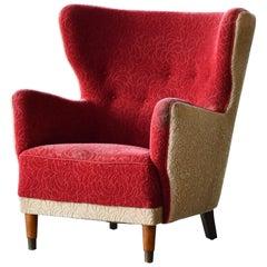 Midcentury Danish Fritz Hansen Style Lounge or Club Chair, circa 1950