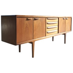 Midcentury Danish G-Plan Solid Teak Sideboard Credenza Media Cabinet Long, 1970s