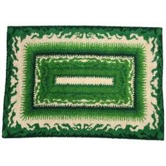 Midcentury Danish Green Rya Rug from Viking