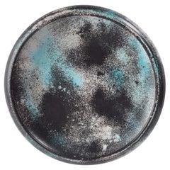 Midcentury Danish Kähler Large Ceramic Low Bowl Green Black Gray Speckled Glaze