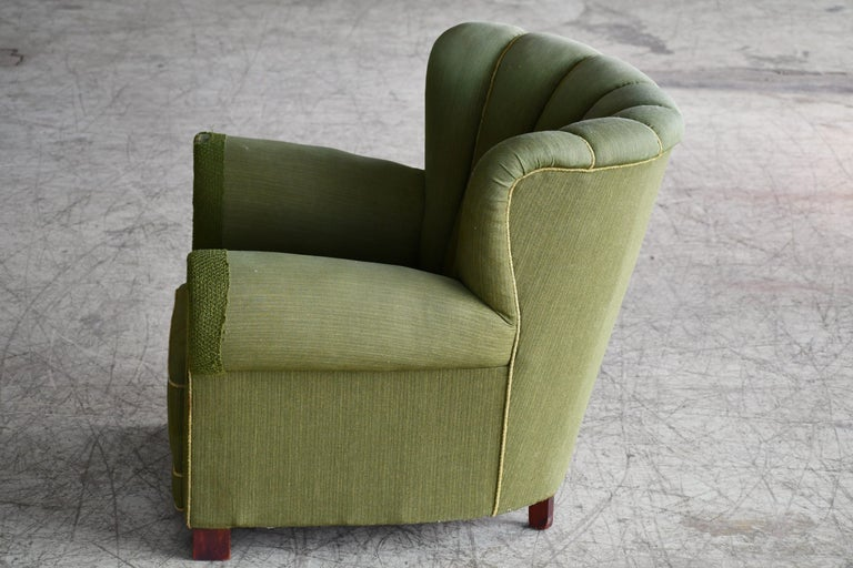 Midcentury Danish Large Fritz Hansen Style Club Chair, 1940s For Sale 4
