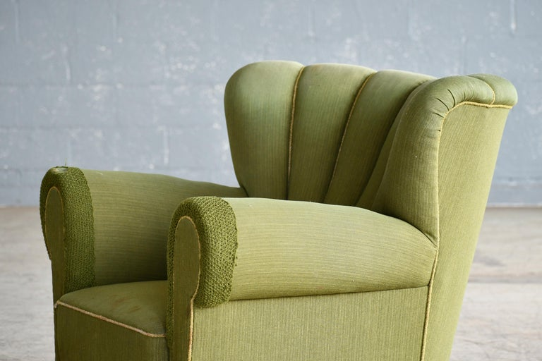Midcentury Danish Large Fritz Hansen Style Club Chair, 1940s For Sale 6