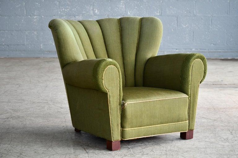 Mid-Century Modern Midcentury Danish Large Fritz Hansen Style Club Chair, 1940s For Sale