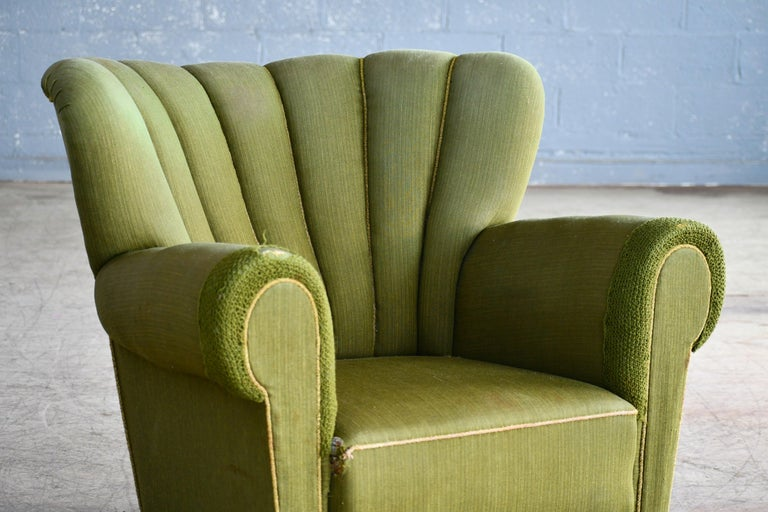 Midcentury Danish Large Fritz Hansen Style Club Chair, 1940s In Good Condition For Sale In Bridgeport, CT