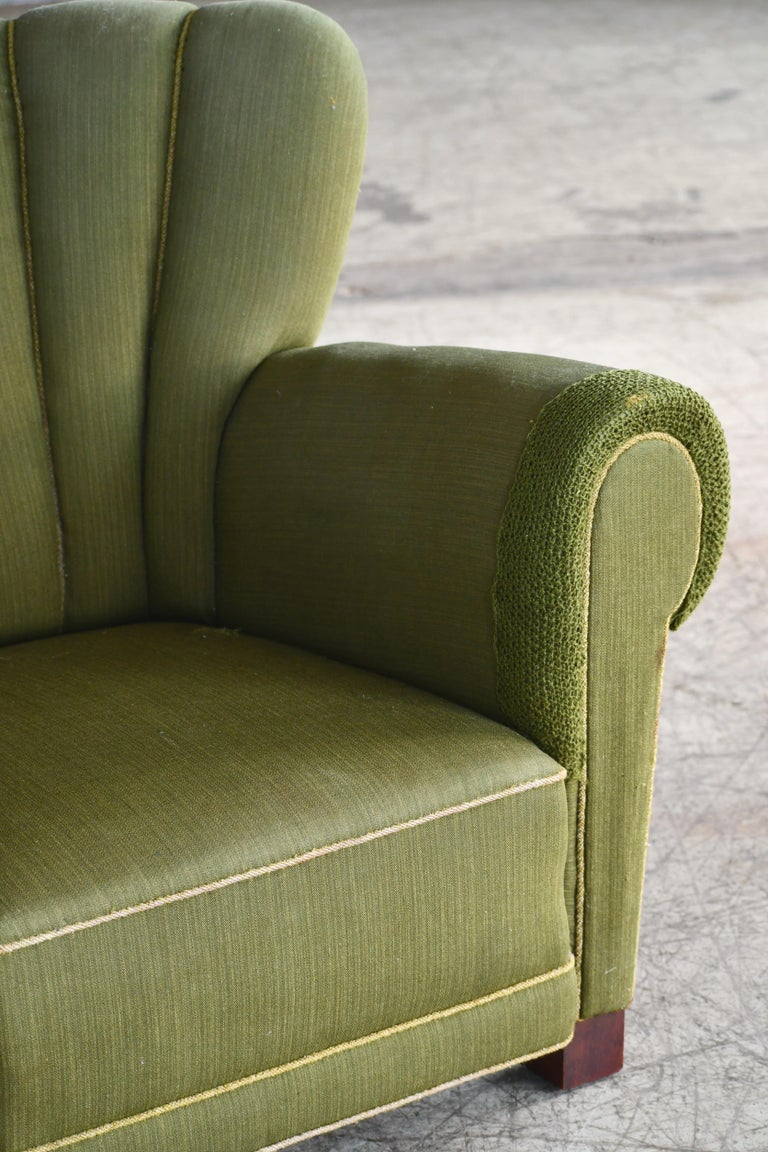 Mid-20th Century Midcentury Danish Large Fritz Hansen Style Club Chair, 1940s For Sale
