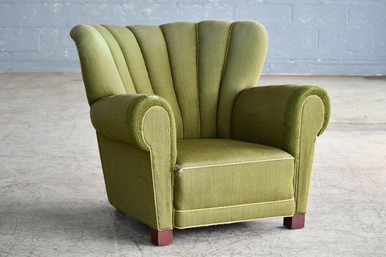 Wool Midcentury Danish Large Fritz Hansen Style Club Chair, 1940s For Sale
