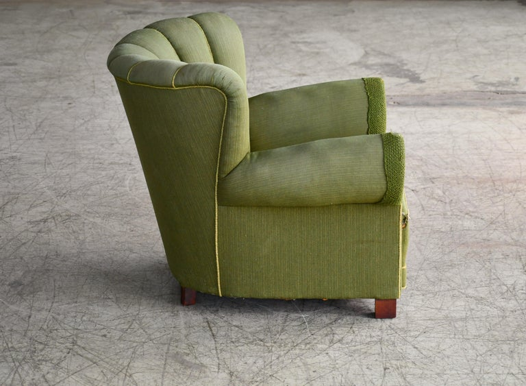 Midcentury Danish Large Fritz Hansen Style Club Chair, 1940s For Sale 1