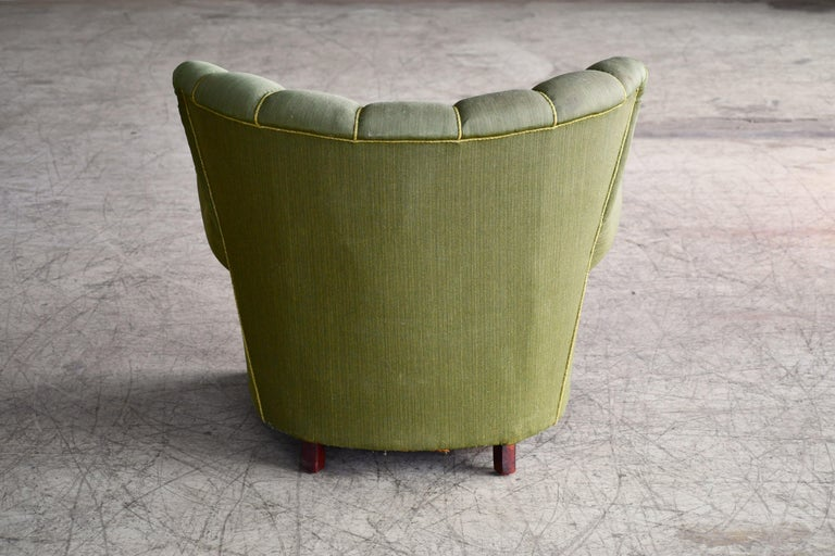 Midcentury Danish Large Fritz Hansen Style Club Chair, 1940s For Sale 3