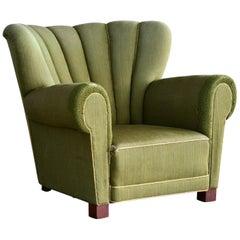 Midcentury Danish Large Fritz Hansen Style Club Chair, 1940s