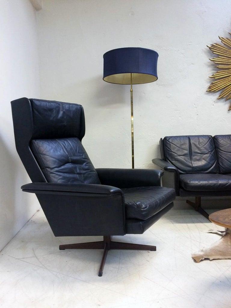 Veneer Midcentury Danish Leather 3-piece Lounge Suite by Komfort designed HW Klein 60s For Sale