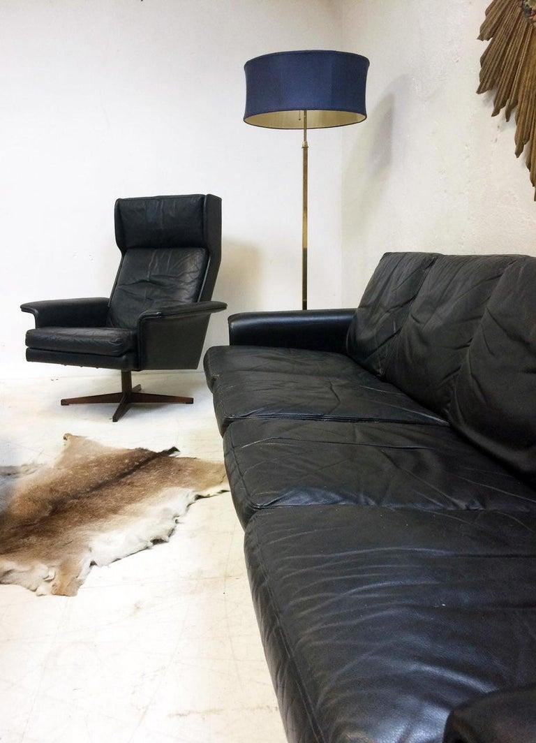 Mid-Century Modern Midcentury Danish Leather 3-piece Lounge Suite by Komfort designed HW Klein 60s For Sale
