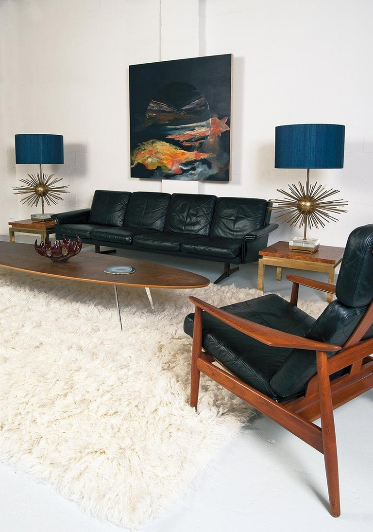 Midcentury Danish Leather 3-piece Lounge Suite by Komfort designed HW Klein 60s In Good Condition For Sale In Sherborne, Dorset
