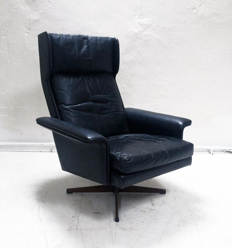 Midcentury Danish Leather 3-piece Lounge Suite by Komfort designed HW Klein 60s For Sale 1