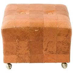Midcentury Danish Leather Cube Ottoman