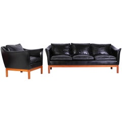 Midcentury Danish Leather Sofa and Lounge Chair