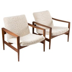 Midcentury Danish Lounge Chairs by Niels Kofoed in Sheepskin