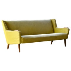 Midcentury Danish Modern 3-Seat Sofa in Teak and Wool by Kurt Ostervig
