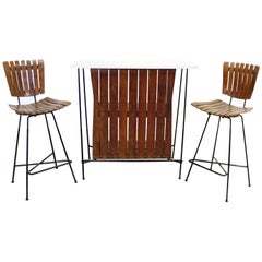 Midcentury Danish Modern Arthur Umanoff Three-Piece Bar and Pair of Stools
