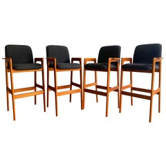 Midcentury Danish Modern Barstools in Teak Set of Four after Erik Buch