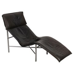 Midcentury Danish Modern Black Leather Chaise Lounge Chair by Tord Björklund