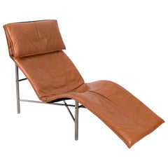 Midcentury Danish Modern Brown Leather Chaise Lounge Chair by Tord Björklund