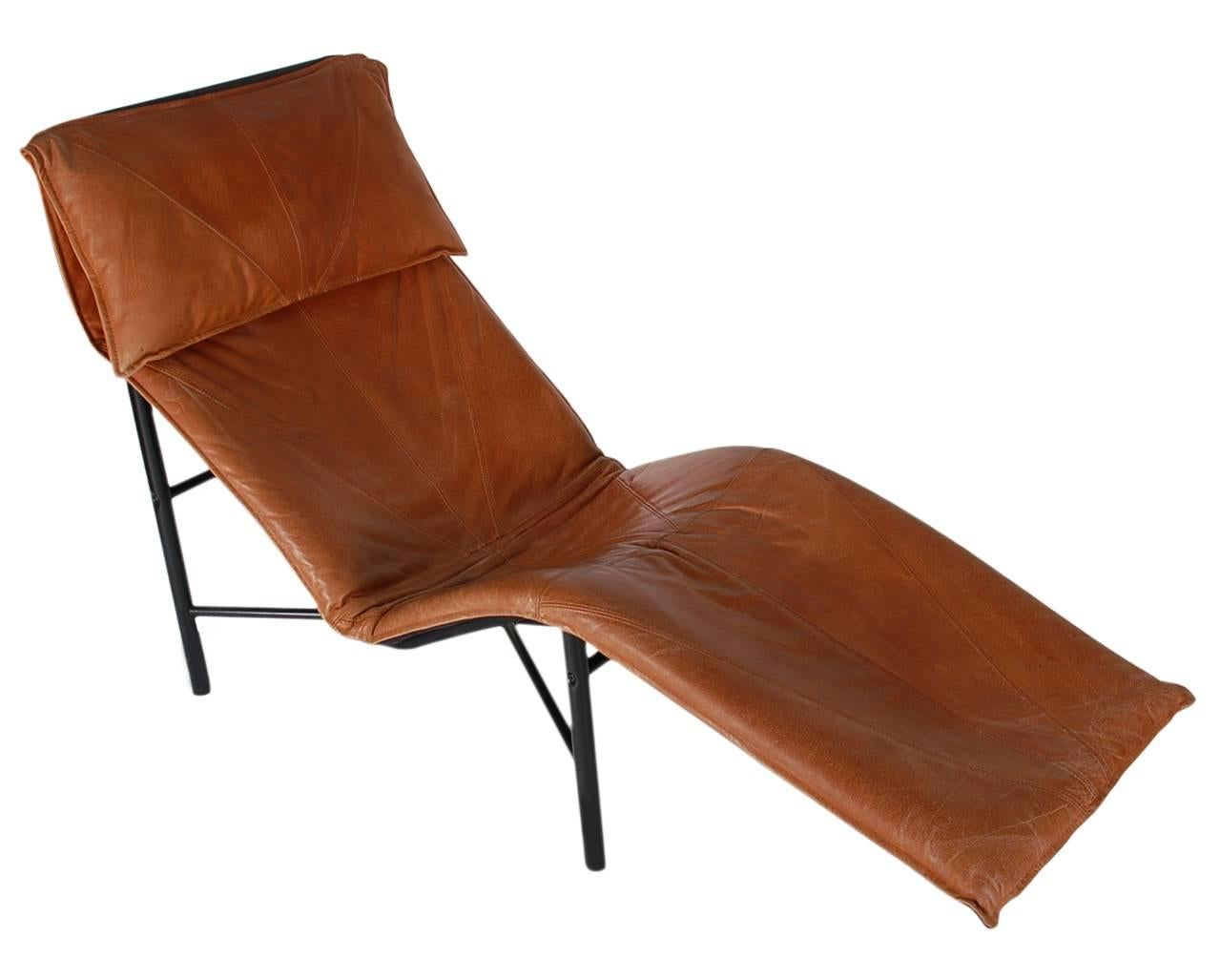 Scandinavian Modern Midcentury Danish Modern Brown Leather Chaise Lounge Chair by Tord Björklund For Sale  sc 1 st  1stDibs : leather chaise lounge chair - Cheerinfomania.Com