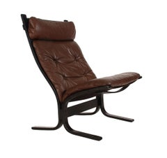 Midcentury Danish Modern Chocolate Brown Leather Slipper Lounge Chair