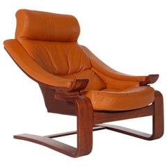 Midcentury Danish Modern Cognac Leather Lounge Chair after Percival Lafer