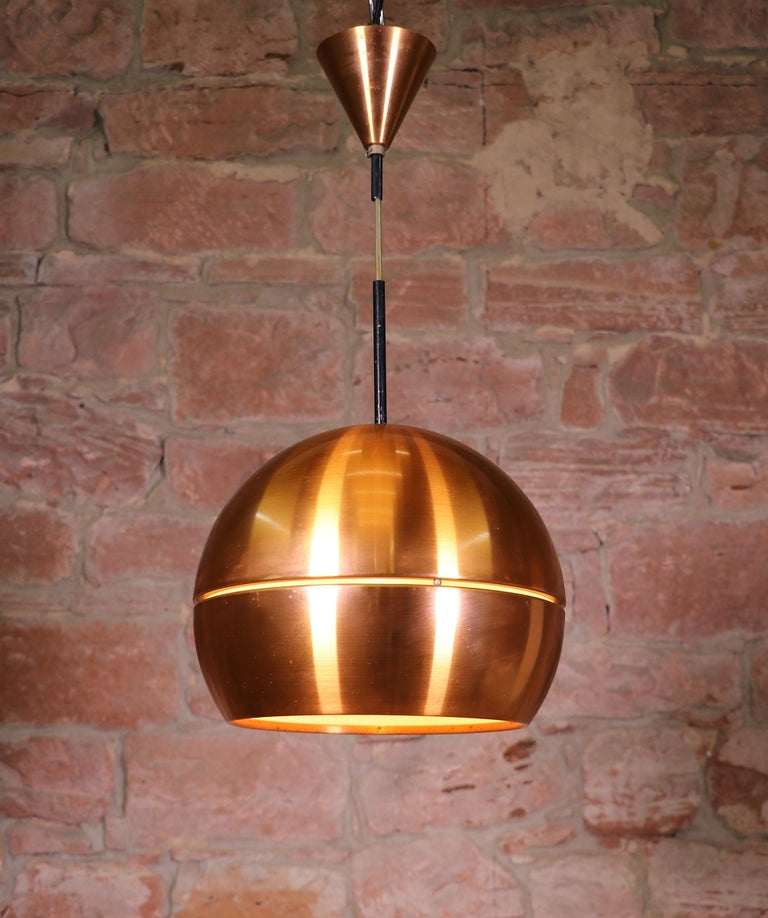 Mid Century Modern Midcentury Danish Copper Pendant Lamp For