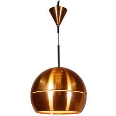 1960 Denmark Mid-Century Modern Copper Pendant Lamp