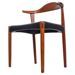 Midcentury Danish Modern Cow Horn Teak Chairs Pair, after Hans J Wegner