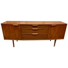 Midcentury Danish Modern Curved Bow Front Teak Sideboard Server Bar Buffet