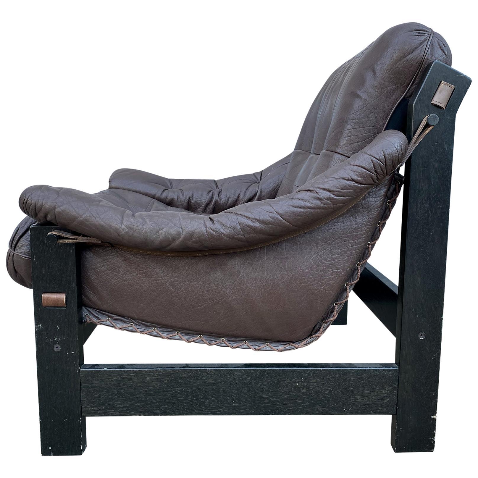 Midcentury Danish Modern Dark Brown Leather Sling Safari Low Lounge Chair