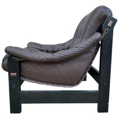 Midcentury Danish Modern Dark Brown Leather Sling Safari Low Lounge Chair